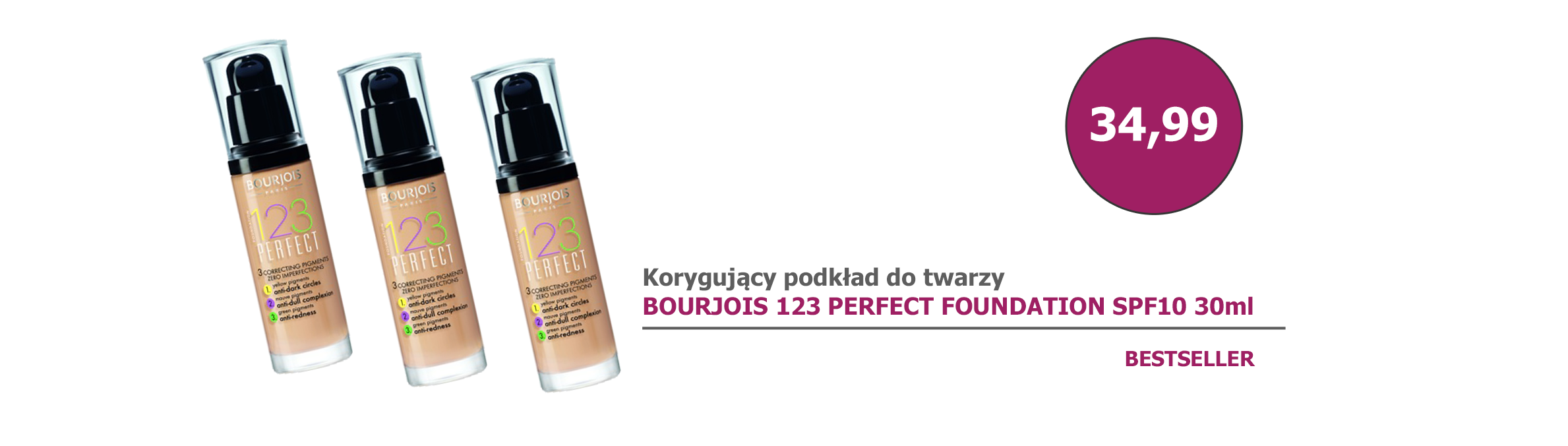 BESTSELLER - BOURJOIS 123 PERFECT FOUNDATION SPF10 30ml